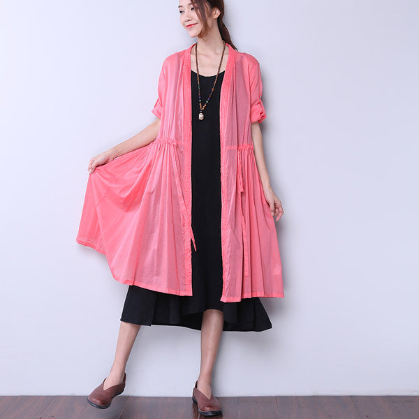 Delicate Strap Folded Button Red Coat - Buykud