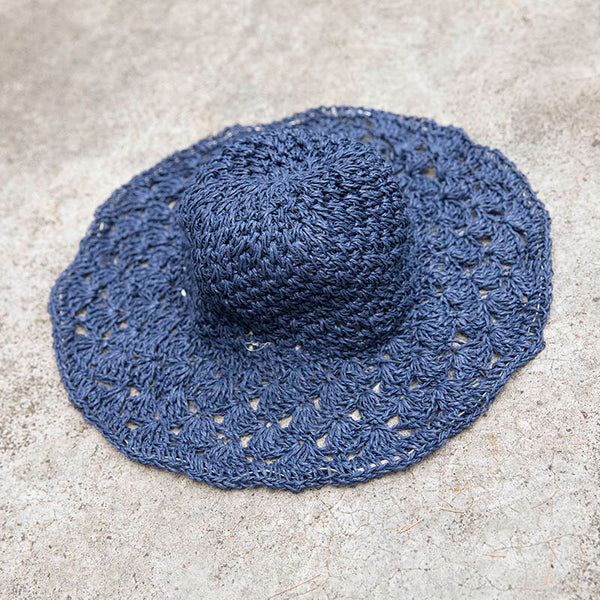 Women Casual Foldable Travel Blue Summer Hat - Buykud