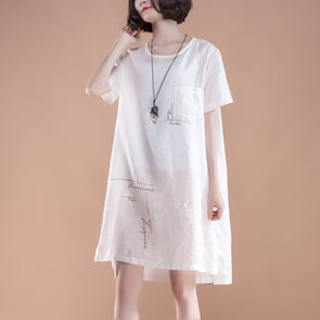 High-low Hem Summer Short Sleeve Pockets slit White Dress