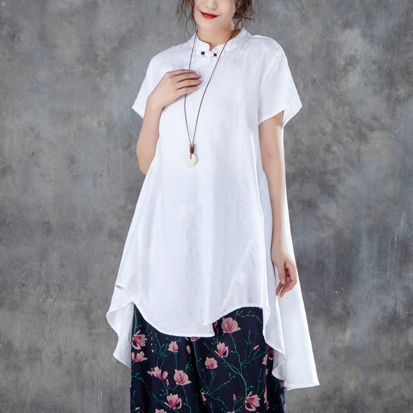 Stand Collar Short Sleeve Irregular Women White Tops