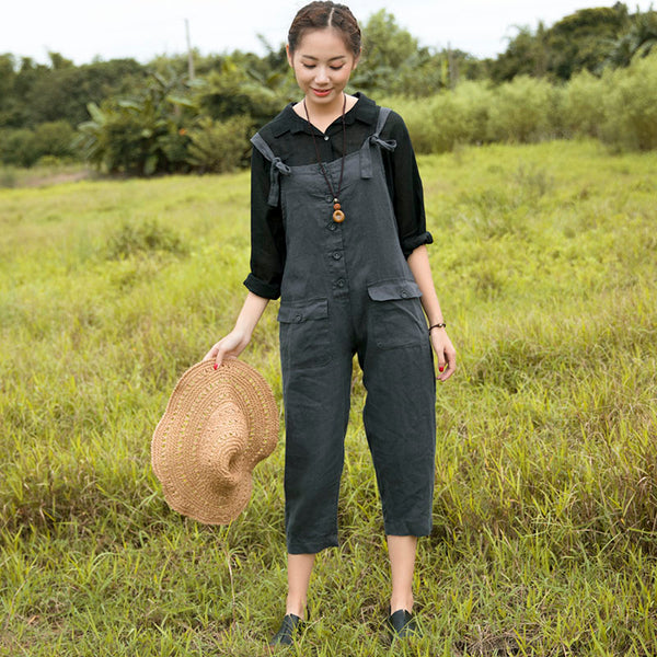Casual Solid Double Pocket Strap Dark Gray Jumpsuit