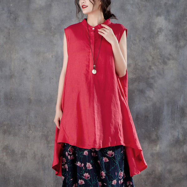 Women Plus Size Stand Collar Sleeveless Red Tops