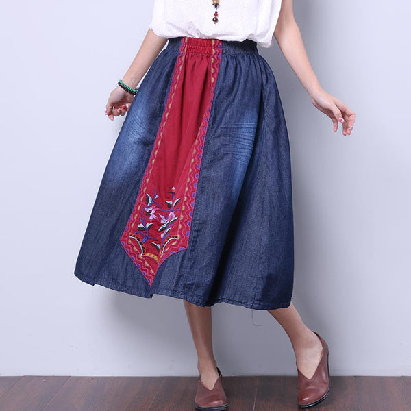 Ethnic Retro Embroidered Women Splicing Loose Red Skirt