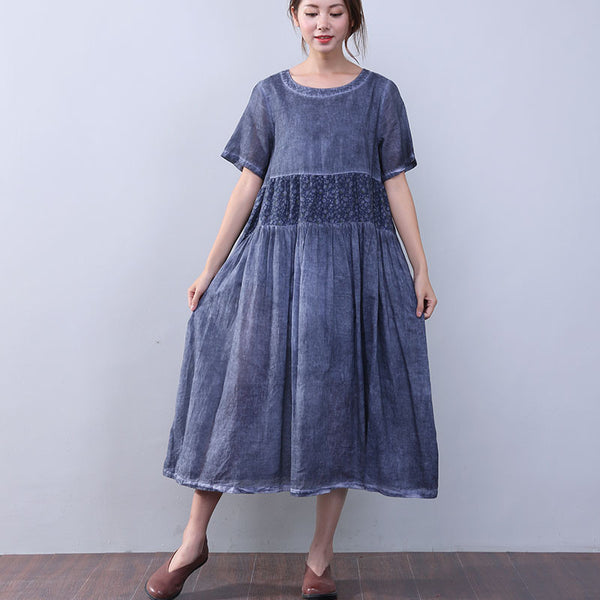 Loose Printing Pocket Lining Short Sleeves Blue Dress - Buykud