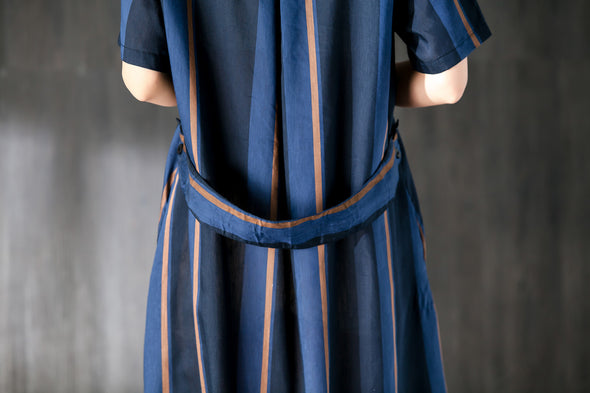 Navy Blue Stripe Women Dress with Ribbon Pocket