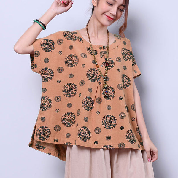 Printing Cotton Summer Women Loose Casual Retro Splitting Orange Shirt
