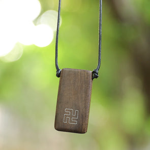 Wood Rectangle Pendant Rope Chain Necklace - Buykud