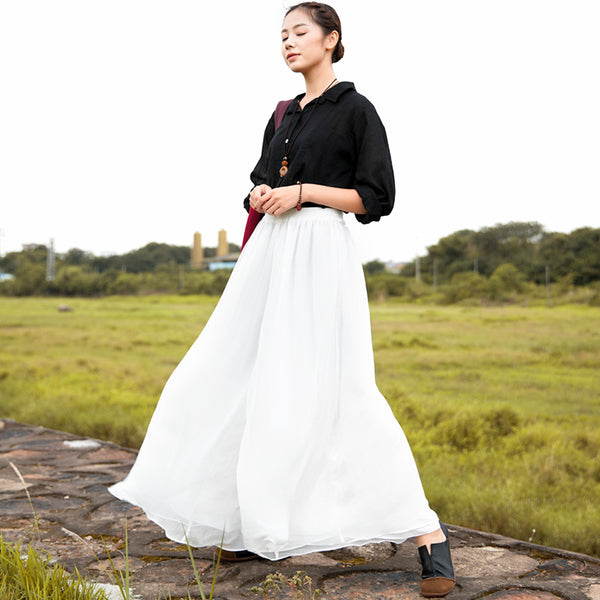 Women Literature Ankle-Length Solid White Wide Leg Chiffon Pants