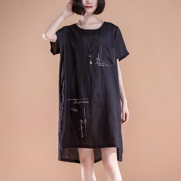 High-low Hem Summer Short Sleeve Pockets slit Dress