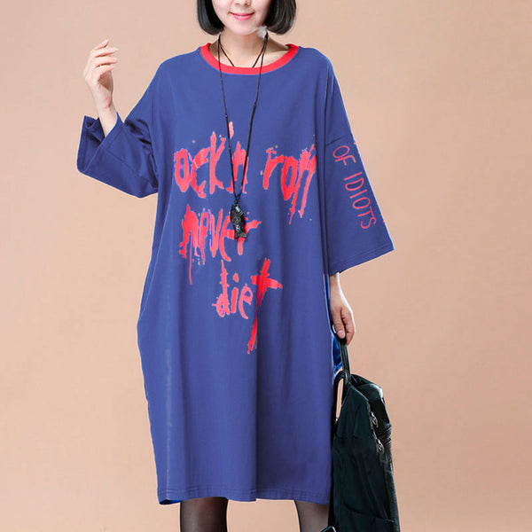 Loose Round Neck Printing Women Casual Blue Shirt