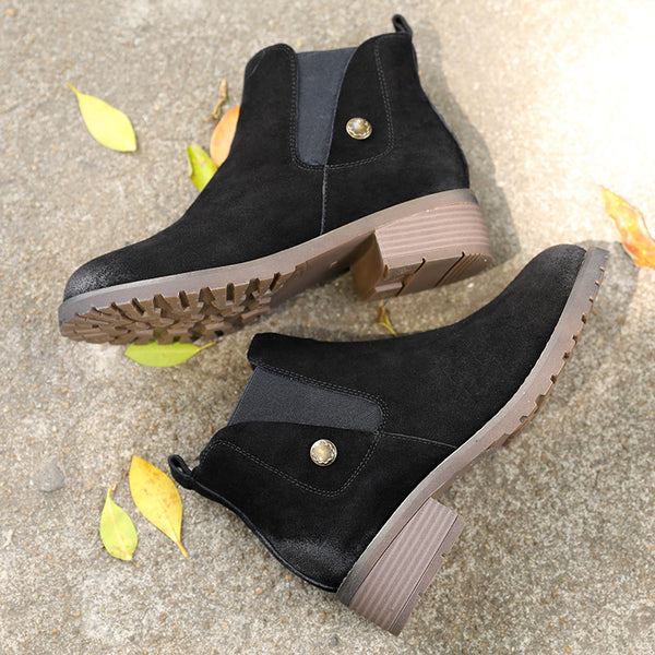 Retro Round Head Thick Heel Nubuck Leather Single Boots Women Shoes - Buykud