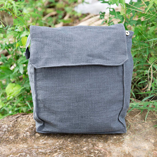 Casual Cotton Linen Mixed Color Backpack