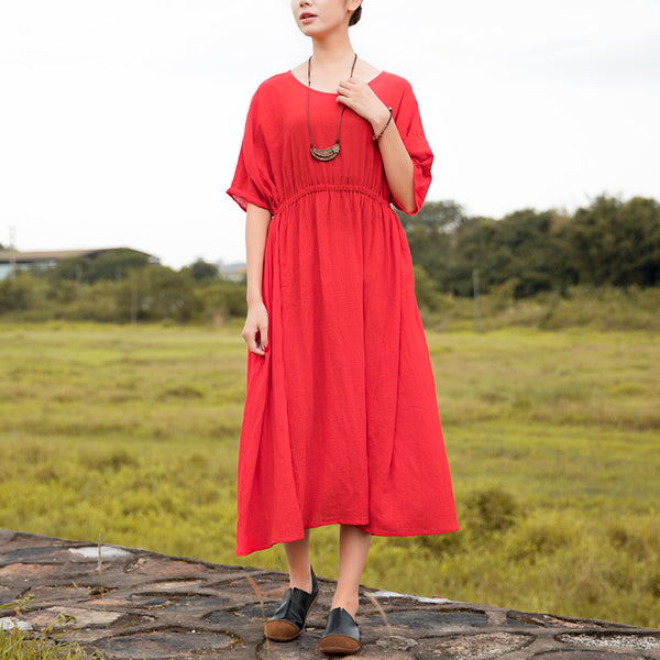 Women Linen Solid Red Retro Short Sleeve Pleated Lacing Dress