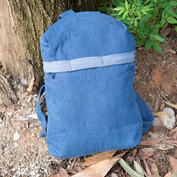Casual Denim Mixed Color Dark Blue Backpack