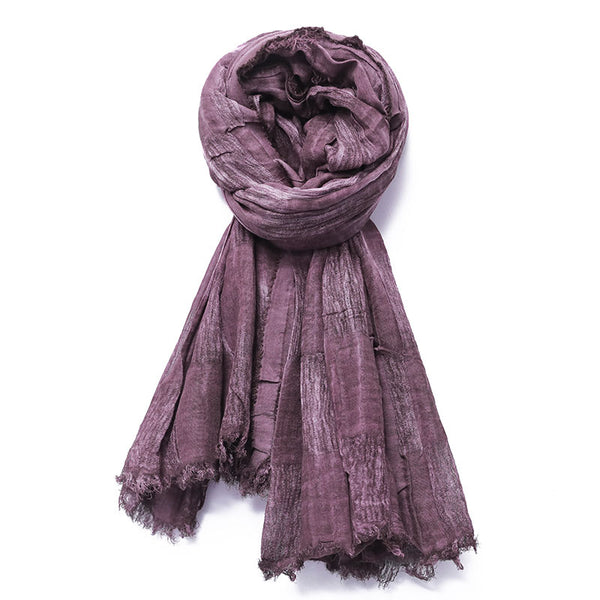 Autumn Winter Rectangle Ripped Fringed Scarf - Buykud