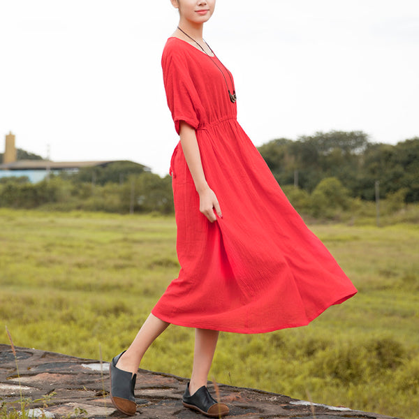 Women Linen Solid Red Retro Short Sleeve Pleated Lacing Dress - Buykud