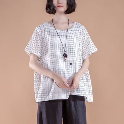 Short Sleeve Plaid Summer Casual White Women Tops