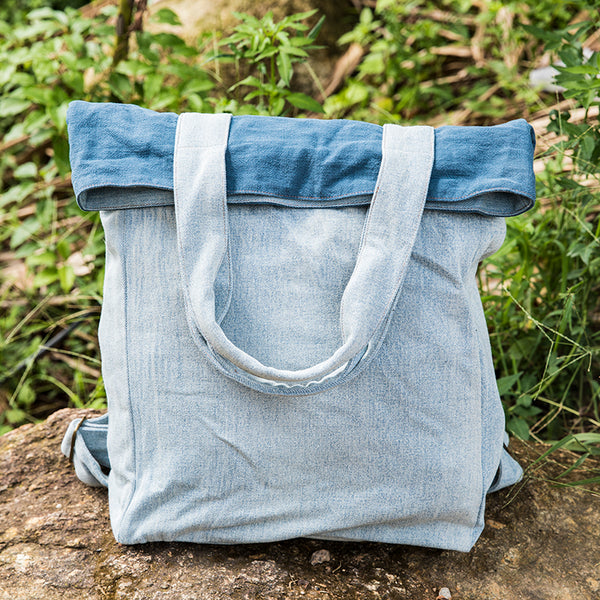 Splicing Casual Distressed Women Denim Backpack