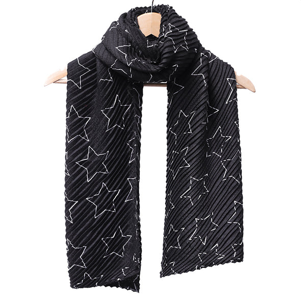 Autumn Winter Rectangle Striped Star-Print Scarf - Buykud
