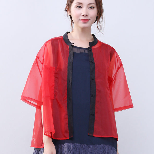 Silk Summer Women Loose Casual Outer Wear Red Shirt - Buykud