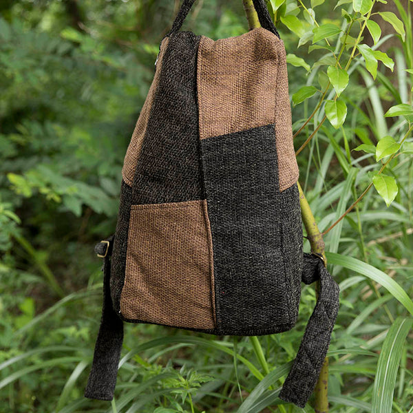 Vintage Linen Cotton Splicing Mixed Color Dark Brown Backpack