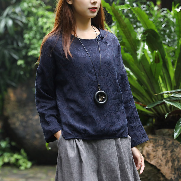 Retro Long Sleeve Embroidery Side Slit Frog Navy Blue Shirt - Buykud