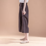 Summer Women Casual Stripe Pockets Wide Leg Long Pants