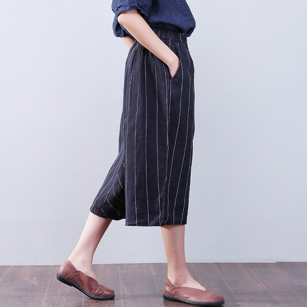 Women Stripe Pocket Navy Blue Pants