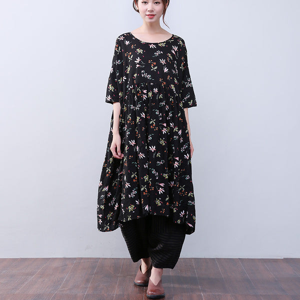Women Floral Printing Loose Casual Folded Short Sleeves Black Dress