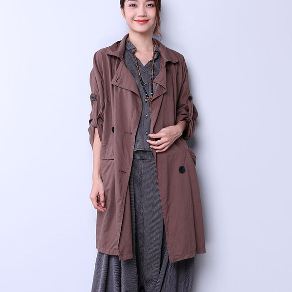 Elegant Double Breasted Women Coffee Coat