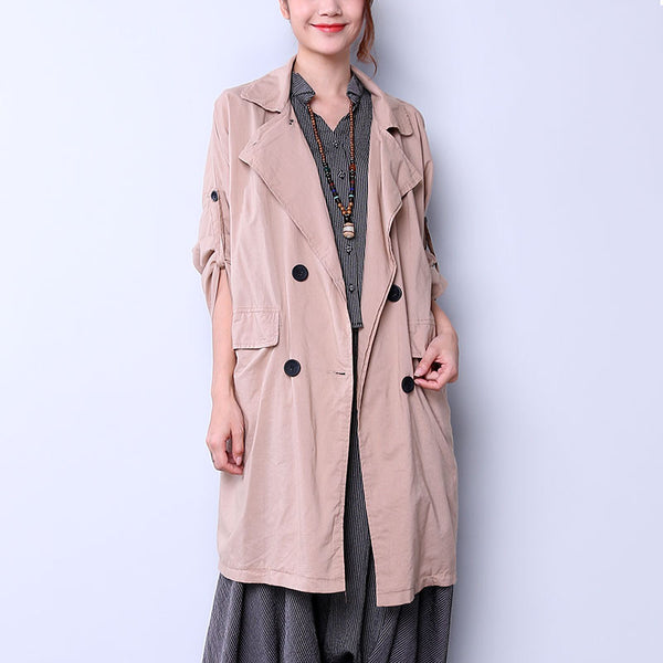 Elegant Double Breasted Women Khaki Coat