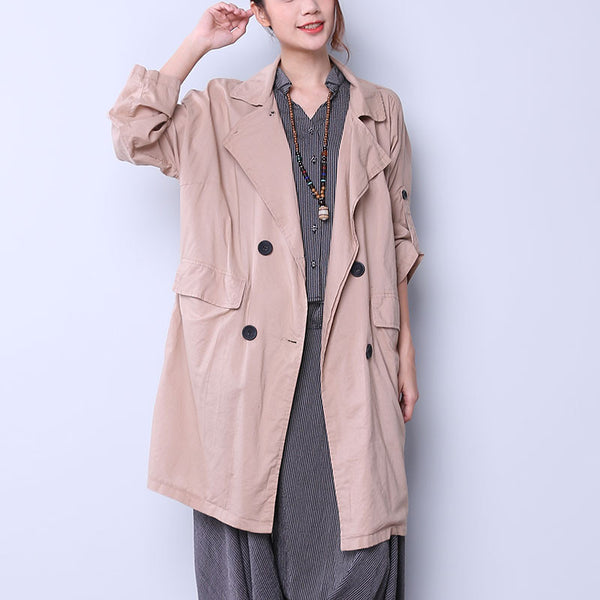 Casual Single Breasted Women Khaki Coat