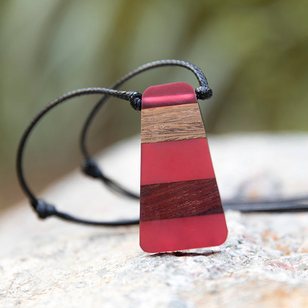 Retro Vintage Trapezoidal Pendant Women Trendy Red Necklace