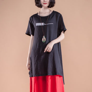 Short Sleeve Slit Summer Casual Black Women Tops
