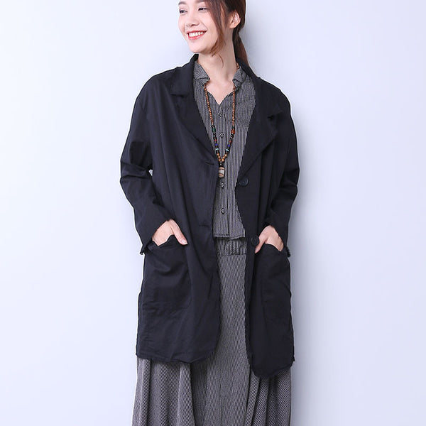 Casual Single Breasted Women Black Coat
