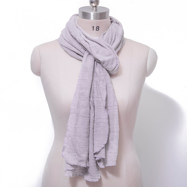 Cotton Linen Casual Women Light Purple Rectangle Scarf - Buykud