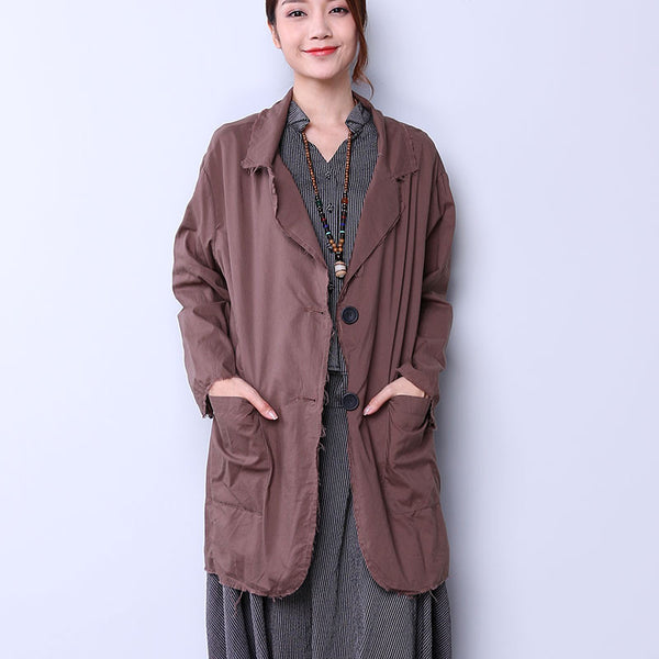 Casual Single Breasted Women Coffee Coat