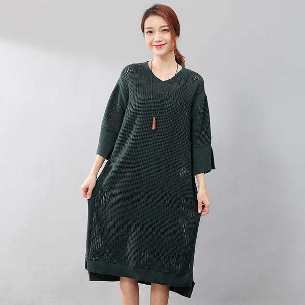 Women Stylish Small Holes Splicing Knitted Green Sweater Dress - Buykud