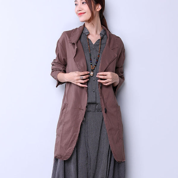 Casual Single Breasted Women Coffee Coat - Buykud