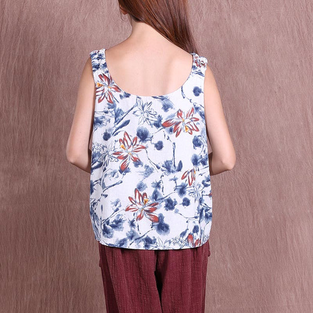 Summer Casual Women Loose Printing White Short Vest - Buykud