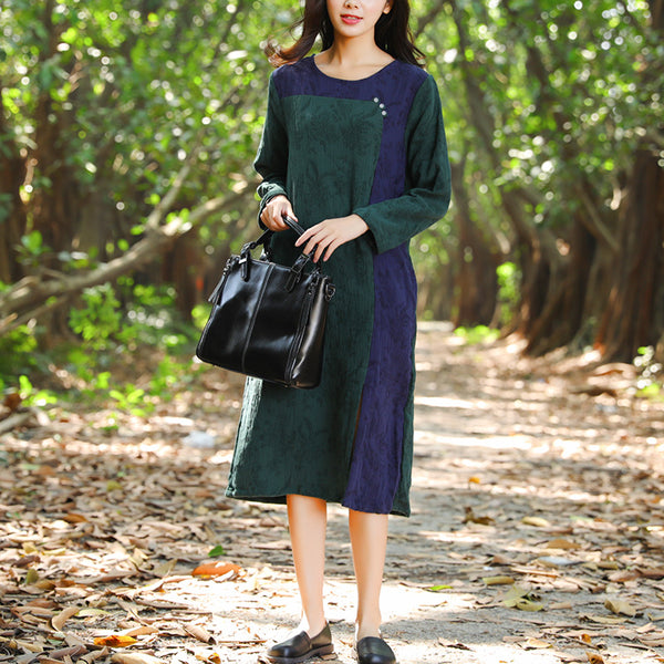 Long Sleeve Casual Pockets Split Pleated Embroidery Dress - Buykud