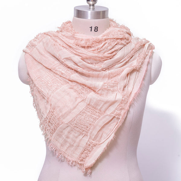 Versatile Cotton Linen Fabrics Lattice Elegant Women Pink Scarf - Buykud