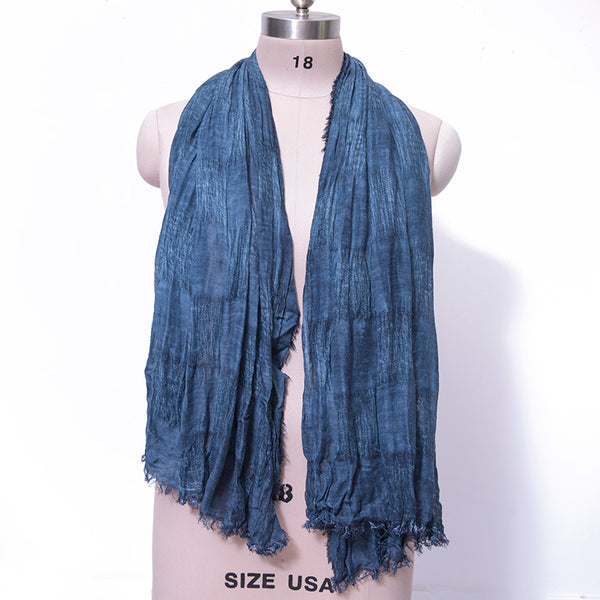 Versatile Cotton Linen Fabrics Lattice Elegant Women Navy Blue Scarf - Buykud
