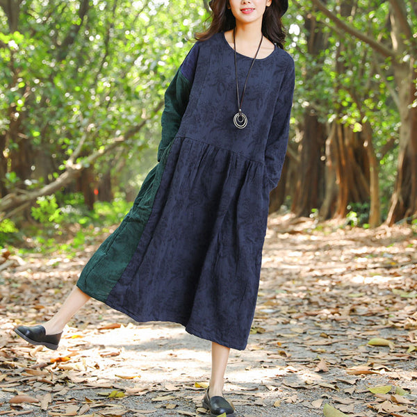 Retro Autumn Round Neck Splicing Navy Blue Dress For Women - Buykud