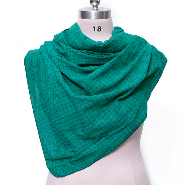 Casual Women Cotton Linen Green Rectangle Lattice Scarf - Buykud