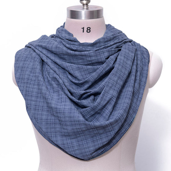 Casual Women Cotton Linen Blue Rectangle Lattice Scarf - Buykud