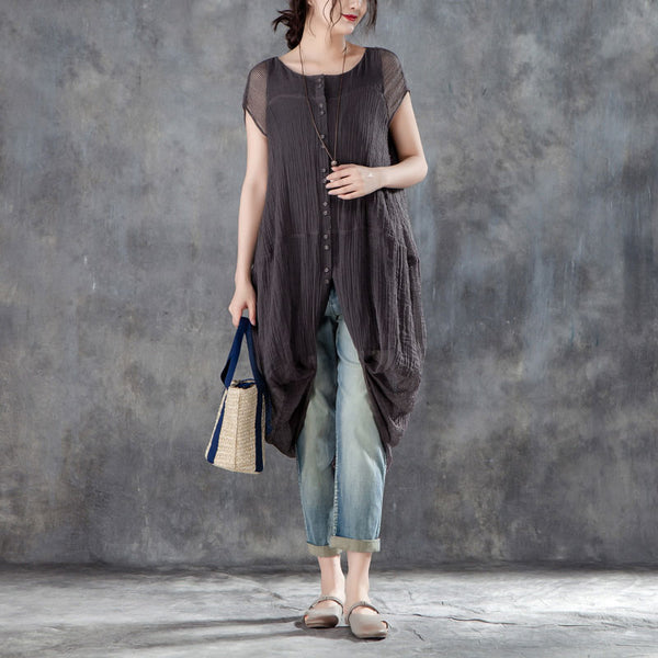 Short Sleeve False Two Piece Gray Women Tops