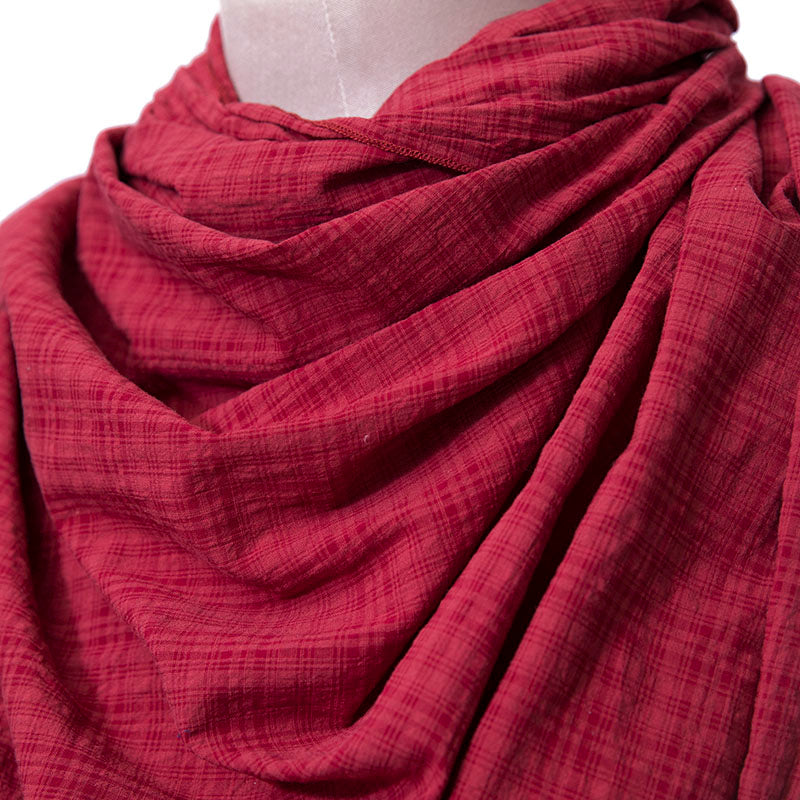 Casual Women Cotton Linen Red Rectangle Lattice Scarf - Buykud
