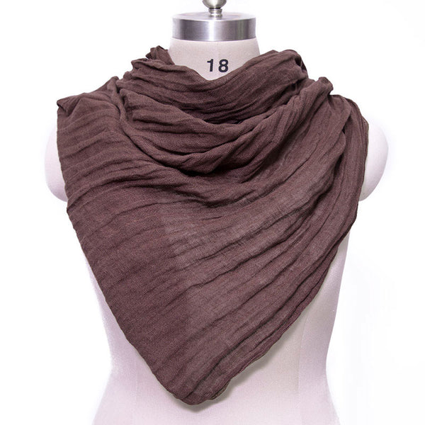 Casual Women Cotton Linen Floded Rectangle Scarf - Buykud
