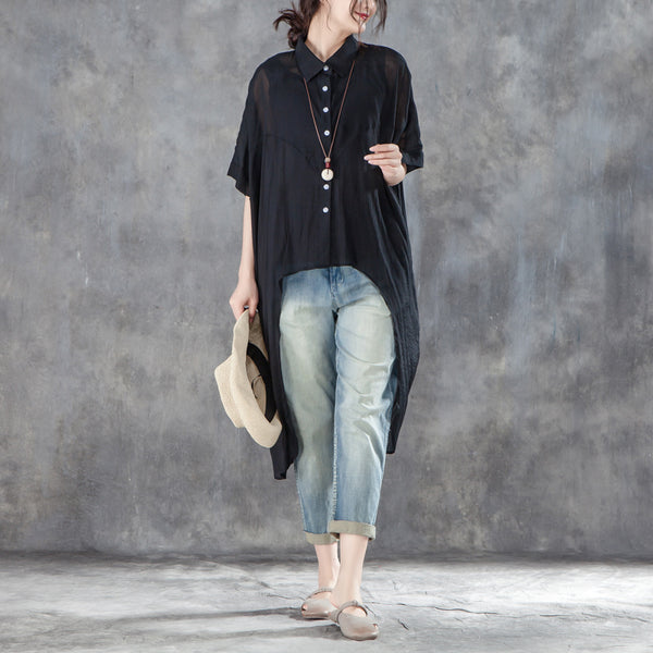 Single Breasted Short Sleeve Loose Irregular Black Blouse